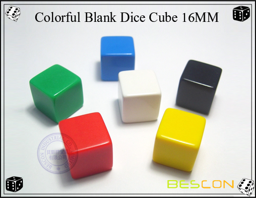 Colorful Blank Dice Cube 16MM