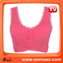 Seamless Sport Bra Front Closure Bra Lace Genie Bra With Removable Pads