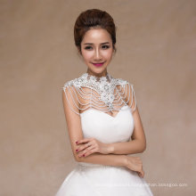 Crystal Pearl Bridal Shawl Wedding Accessories with Applique Lace
