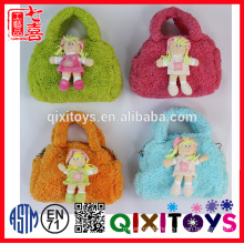 EN71 cute fashionable plush doll toy hand bag for girls