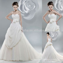 Fabulous 2014 Tulle Made Long Ball Gown Wedding Dress Strapless Alternating Vertical Pleated Bodice Lace Bridal Gown NB0892