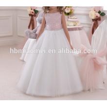 Approvisionnement d'usine de couleur blanche dentelle diamant décoration robe d'anniversaire pour fille de 7 ans avec noeud de couleur rose