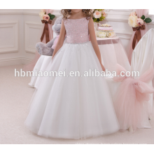 Factory supply white color lace diamond decoration birthday dress for girl of 7 years old with pink color bow