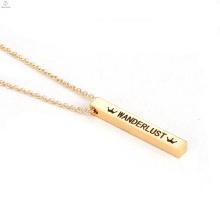 Pendentif de charme de mode Collier de barre verticale en acier inoxydable gravé Dainty