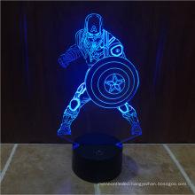 Halloween Christmas Kids Gift Illusion Bulbing Marvel Civil War Captain America Color Changing 3D led Light