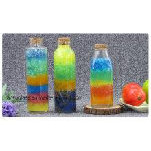 Bouteille en verre à boissons de haute qualité de 350 ml pour jus avec couvercle en bois