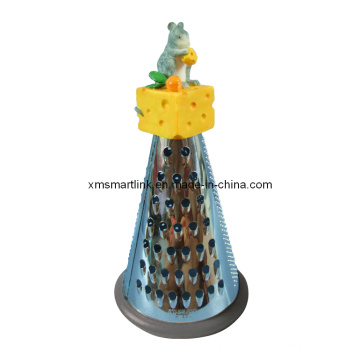 Polyresin Sculpture Cheese Mouse Stainless Steel Grater for Kitchen Gadgets