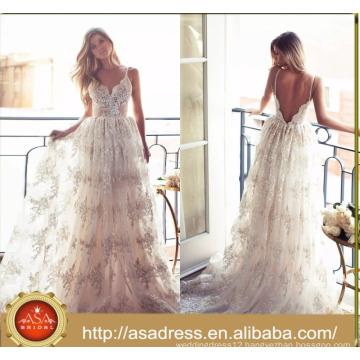 ASWY17 Sexy Lace Spaghetti Strap Bridal Gown Bohemian Wedding Bride Dress