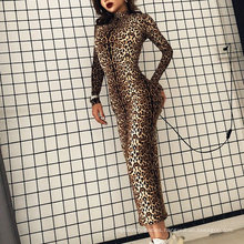 2021 European and American New Leopard Print Long-Sleeved Dress Lady Elegant Sexy Tight Women′ S Long-Sleeved Print Dress