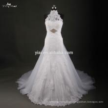 RSW748 Vestido De Noiva 2015 Halter Neckline Vestidos de renda para casamento com saia removível e véu grátis