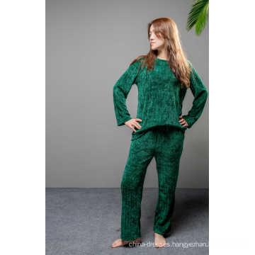 Soft fleece green solid pajama set