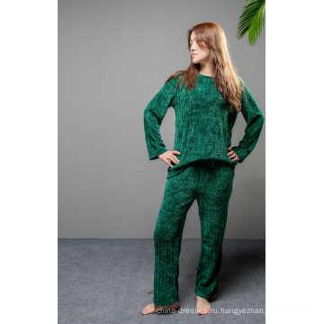 Мягкий флисовый зеленый сплошной пижамный комплект