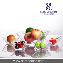 Clear Square Glass Bowl Set for Fruit or Sauce