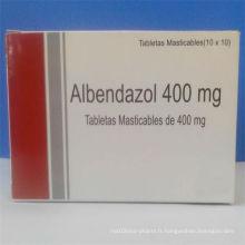 Comprimés Albendazole de haute qualité 400mg