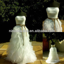 NW-386 Pleated Bodice with Ruffle Skirt Wedding Dress