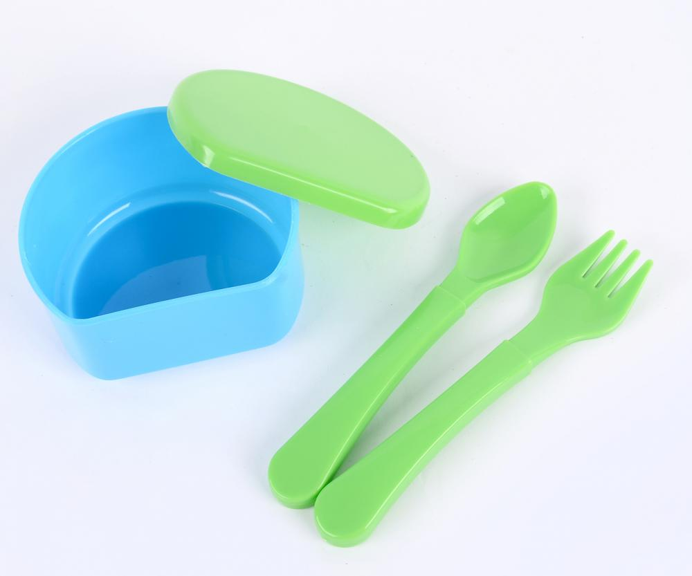 3PCS PP Baby Feeding Bowl with Baby Spoon and Fork