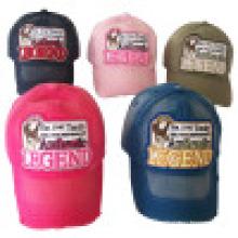 6 panel lavado gorra de béisbol con apliques (6PWS1225)