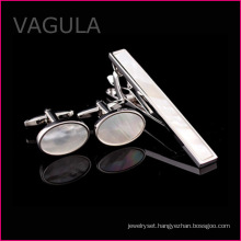 VAGULA Hot Selling Shell Tie Pin Cufflinks Tie Bar Set Wedding Party Tie Clip Set (T62283)