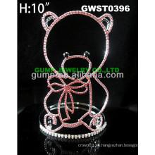 Corona de la tiara del rhinestone del oso barato - GWST0396