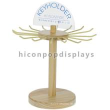 Shop Gewerbe Custom Logo Metall Haken Holz Zähler Top Single Layer Rotating Keyring Display Stand