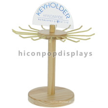 Shop Commercial Custom Logo Metal Gancho Madeira Counter Top Single Layer Rotação Keyring Display Stand