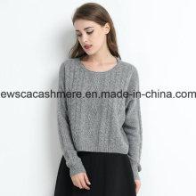 Frauen Cable Knit Solid Color Rundhals reiner Cashmere-Pullover mit Metallic-Garn