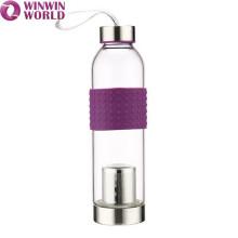 Botella de agua de vidrio 500ML con infusor de fruta