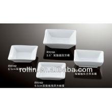 Plato cuadrado de porcelana, plato rectangular para hotel