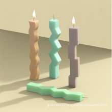 Home Decorative Tool Handmade DIY Silicone Pillar Wax Mold 3D Roman Stripe Dinner Candle Mould
