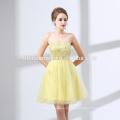 Curto design cor amarela fada vestido de noiva nova moda fora do ombro vestido de casamento por atacado