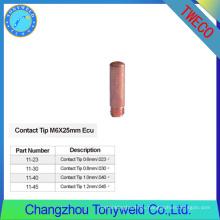 11-45 tweco consumibles de soldadura puntas de contacto de cobre