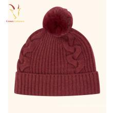 Cachemire 100% Cable Knit Beanie Chapeau Pom Pom Fille Chapeau En Gros