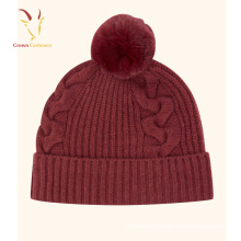 Cashmere 100% Cable Knit Beanie Hat Pom Pom Girl Hat Wholesale