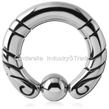 316L Surgical Steel Totem Ball Closure Ring