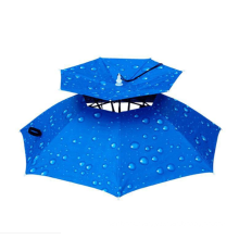 Mini double folding fishing fan for head galvanized  cold small outdoor cooling parasol with led light hat umbrella for adult