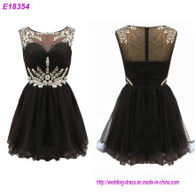Black Chiffion Beaded A Line Evening Dresses Short Mother of The Bride