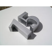 Alta calidad no iluminada pincel de aluminio cepillado Número o signo de letras