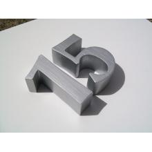 Número de escova de alumínio escovado não iluminado de alta qualidade ou sinal de letras