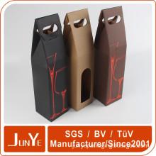 corrugated portable custom paper wine box bottle packaging design