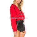 Rote Frauen Hoodies T-Shirt Mode Reißverschluss Langarm-T-Shirt