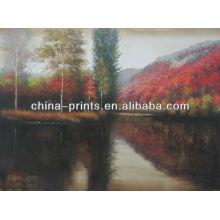 Pintura al óleo del bosque del abedul del paisaje para la decoración casera