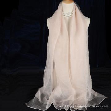 Bufanda de seda de dos capas de la moda 2016 con lanas