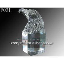 Tête d'aigle sculptée à la main en cristal