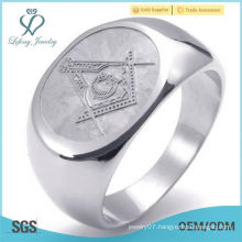 Embossed Stamped Freemason Masonic Stainless Steel Band Mens Ring, Silver