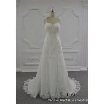 Mais recente moda de luxo vestido de noiva 2017 a linha de casamento vestido de noiva marfim