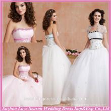 HQ2003 Vestido de baile de sash com bordas brancas e bordas de rendas de renda em volta de volta Bolero de bolero barato com vestidos de quinceañera bordados