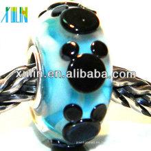hecho a mano encantador negro mickey pattern cuentas de la joyería europea