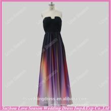 RP0040 Real escote entalhado plissado chiffon vestidos ocidentais festa vestido de noite colorido vestido de formatura de cor de gradiente