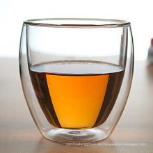 250ml Hand geblasenes Doppelwand-Glasbecher Doppelte Tasse