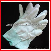 Guantes de inspección de nailon blancos PU blancos